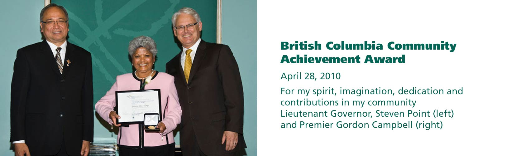 Yasmin receiving the British Columbia Community Achievement Award